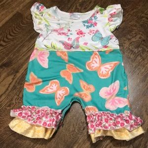 Other - Boutique milk silk butterfly floral jumpsuit